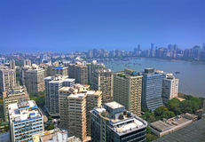 Aerial Mumbai financial capital of India. Over the sea Royalty Free Stock Photo