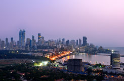 Aerial Mumbai by night. Aerial view of Mumbai by night at sunset blue hour stock photography