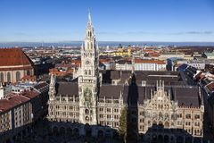 aerial of Munich in beautiful weather Royalty Free Stock Photos