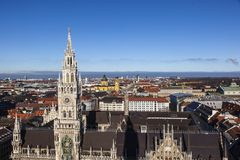 aerial of Munich city hall  in beautiful weather Royalty Free Stock Images