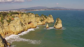 Aerial from natural rocks at Lagos Portugal stock video footage