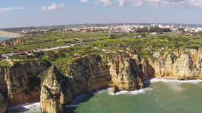 Aerial from natural rocks at Lagos Portugal stock footage