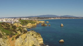Aerial from natural rocks in Lagos Portugal stock video