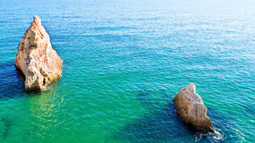 Aerial from natural rocks near Alvor in Portugal Stock Photos