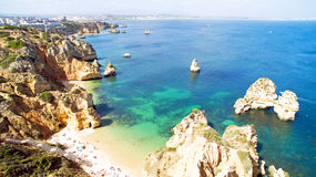 Aerial from natural rocks near Lagos in Portugal Royalty Free Stock Image