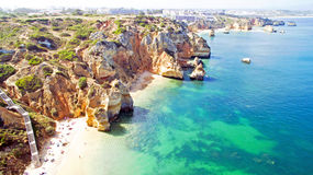 Aerial from natural rocks near Lagos in Portugal Stock Photos
