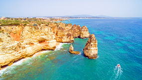Aerial from natural rocks near Lagos Portugal Stock Photos