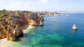 Aerial from natural rocks near Lagos Portugal Stock Photo