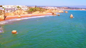 Aerial from natural rocks near Lagos in Portugal stock video footage