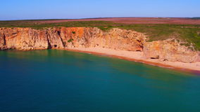 Aerial from natural rocks near Sagres in Portugal stock video