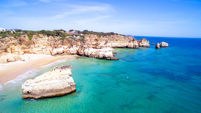 Aerial from natural rocks at Praia Tres Irmaos Alvor Portugal Stock Photo