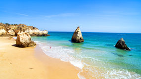 Aerial from natural rocks at Praia Tres Irmaos Alvor Portugal Royalty Free Stock Image