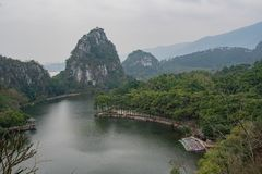 Aerial nature landscape around Seven-star Crags Scenic Area. At Zhaoqing, China royalty free stock photos