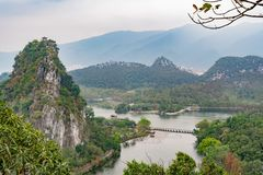 Aerial nature landscape around Seven-star Crags Scenic Area. At Zhaoqing, China stock photos