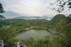 Aerial nature landscape around Seven-star Crags Scenic Area. At Zhaoqing, China stock photography