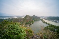 Aerial nature landscape around Seven-star Crags Scenic Area. At Zhaoqing, China royalty free stock images