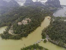 Aerial nature landscape around Seven-star Crags Scenic Area. At Zhaoqing, China stock images
