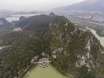 Aerial nature landscape around Seven-star Crags Scenic Area. At Zhaoqing, China royalty free stock image