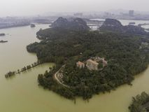 Aerial nature landscape around Seven-star Crags Scenic Area. At Zhaoqing, China stock photo