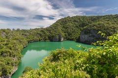 Aerial nature landscape of Thale Nai or Blue Lagoon. Emerald Lake of volcano at Koh Mae Ko island viewpoint in Mu Ko Ang stock photo
