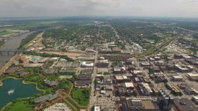 Aerial Nebraska Omaha. Aerial video of downtown Omaha in Nebraska during the day