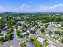 Aerial of a Neighborhood in Parkville in Baltimore County, Maryland royalty free stock image
