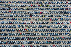 Aerial of new cars South Africa Stock Photo