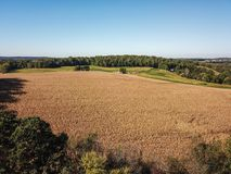 Aerial of New Freedom and surrounding Farmland in Southern Penns. Ylvania during Fall Royalty Free Stock Photography