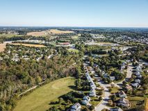 Aerial of New Freedom and surrounding Farmland in Southern Penns. Ylvania during Fall Royalty Free Stock Photos