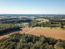 Aerial of New Freedom and surrounding Farmland in Southern Penns. Ylvania during Fall Royalty Free Stock Images
