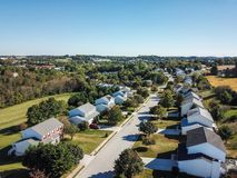 Aerial of New Freedom and surrounding Farmland in Southern Penns. Ylvania during Fall Royalty Free Stock Photo