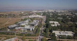 Aerial of new Google plex HQ with solar panels and tensile structure on the roof