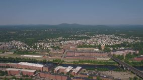 Aerial New Hampshire Manchester July 2017 Sunny Day 4K