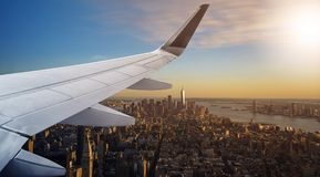Aerial New York City with airplane wing Stock Photo