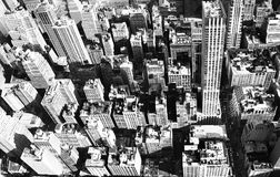 Aerial New York city. Buildings in black and white