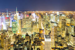 Aerial New York City night Royalty Free Stock Photo