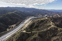 Aerial of the Newhall Pass and Golden State 5 Freeway in Los Angeles royalty free stock photography