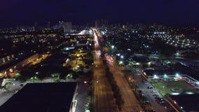 Aerial night city drone stock video