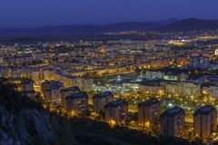 Aerial night city view of Brasov city Stock Photography