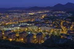 Aerial night cityscape of Brasov city Stock Photo