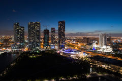 Aerial image Downtown Miami Museum Park. Aerial night image of Downtown Miami by Museum Park Stock Images