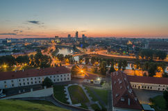 Aerial night panorama of Vilnius, Lithuania Stock Photo