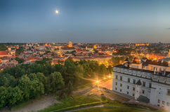 Aerial night panorama of Vilnius, Lithuania Stock Photos