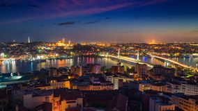 Night view of Istanbul, Turkey stock photography