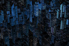 Aerial Night Retro looking Modern city. An aerial view of a Retro looking modern city.  Highly stylized with blue palette Stock Photography