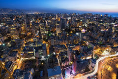 Aerial night shot of Beirut Lebanon , City of Beirut, Beirut city scape Royalty Free Stock Photography