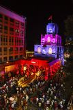 Aerial night shot of decorated pandal based on theme of Angkor temples, Cambodia. Pune Stock Photo