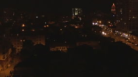 Aerial of night street of Tbillisi city, Georgia. stock video footage