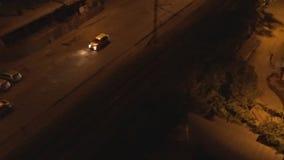 Aerial of night street of Tbillisi city, Georgia. stock video