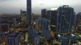 Aerial night video Brickell Miami FL stock footage